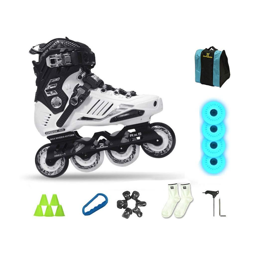 Ailj インラインスケート 大人用1列スケート 初心者ローラースケート 好評 4フラッシュホイールがあります 2色 色 : ブラック サイズ 全商品オープニング価格 さいず EU 38 白 24cm B07QDL212Y UK 44 6 JP 11 27cm 5 10 US