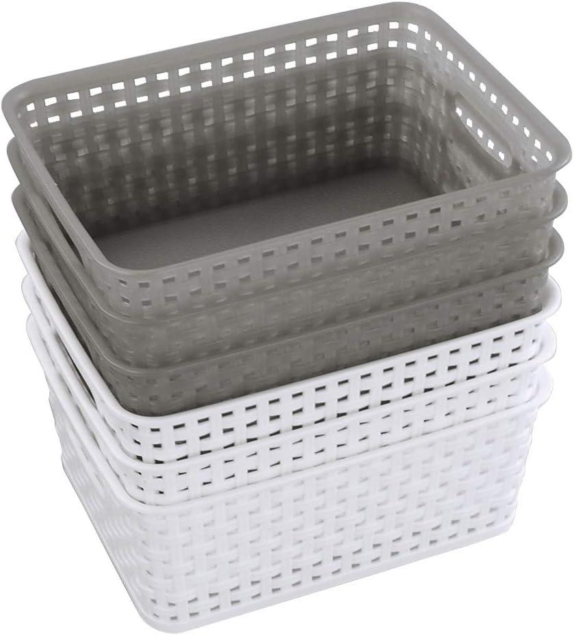 "Ramddy Plastic Basket for Organizing, 10.08"" x 7.67"" x 4.05"", Set of 6"