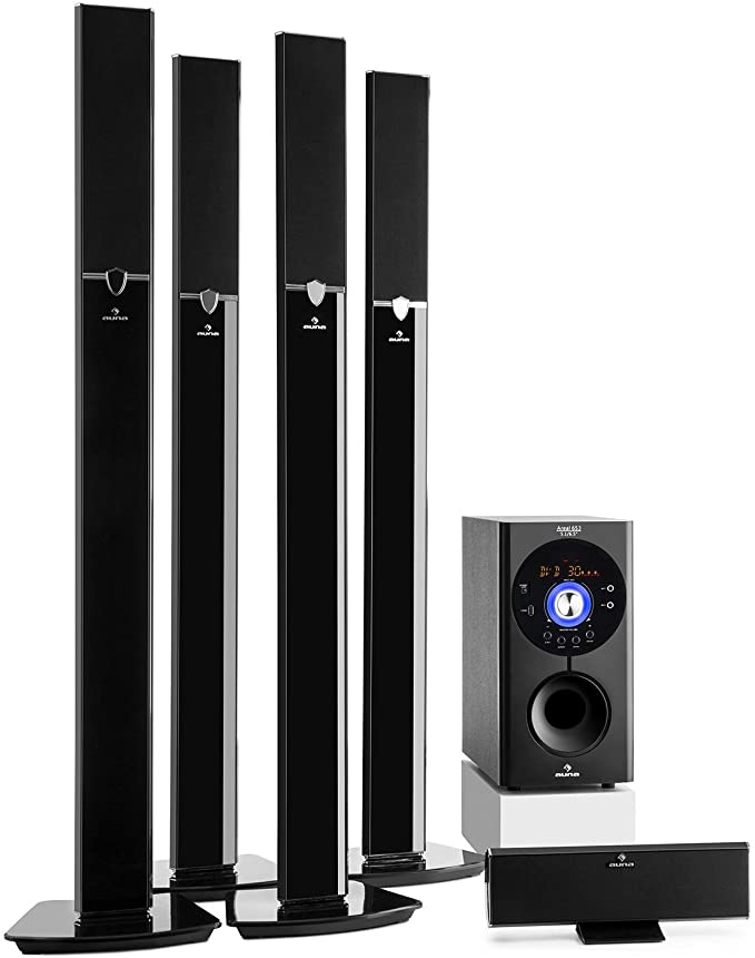 auna Areal 653 - Home Cinema 5.1, Sistema Sonido Surround, Concept 620 Envolvente, Rendimiento 145W RMS, Subwoofer sidefiring, Altavoces satélite, Bassreflex, Bluetooth, USB, SD, AUX, Negro: Amazon.es: Electrónica