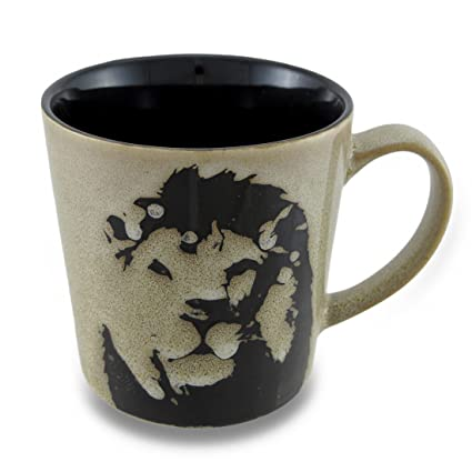 Amazon Ceramic 17 Oz Mug with Stencil Style Safari Lion