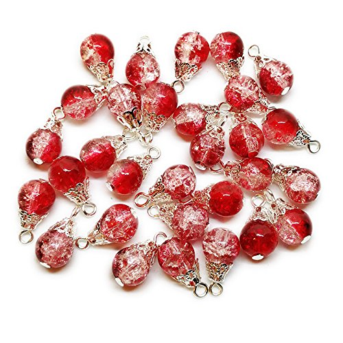 30pcs Handcrafted Crackle Glass Beads Drops w/Silver Wire & Bead Cap for Jewelry Making by Beading Station (Red) (Cap Pearl Drop)