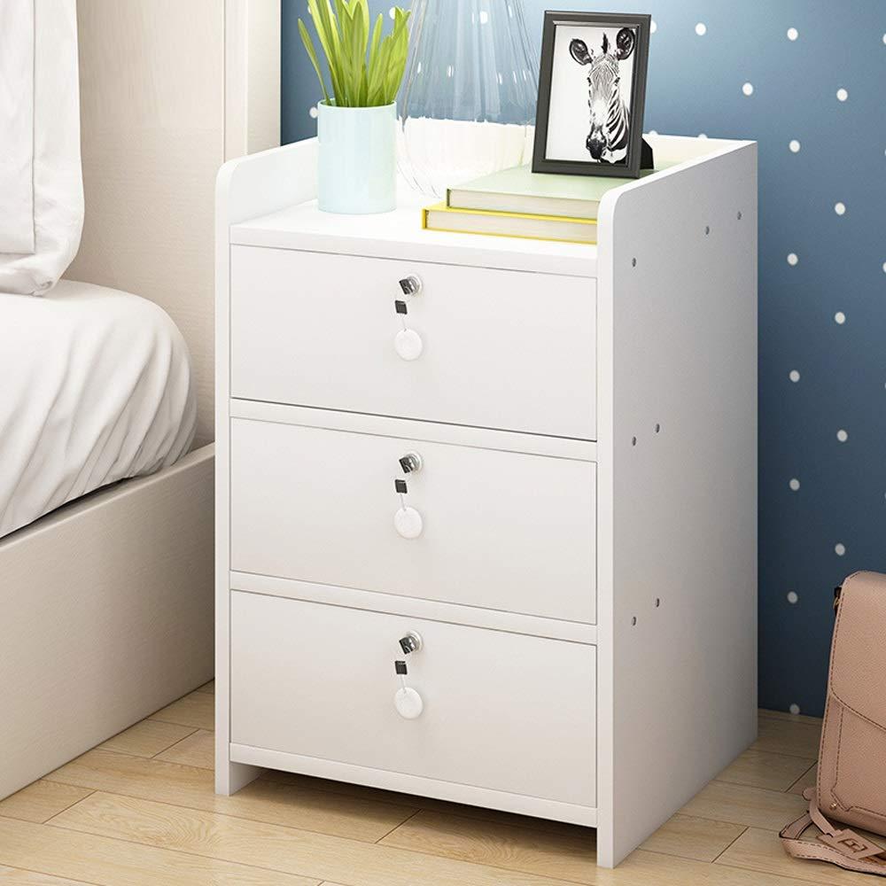 ChangDe Nachttisch Nachttisch, einfache Sperre dreistufigen Schrank Mini Montage Seitenschrank Eckschrank kleine Wohnung, geeignet for Wohn- / Schlafzimmer/Arbeitszimmer, 3 Farben optional Endtische