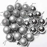 24pcs Christmas Balls Ornament Shatterproof Pendants for Holiday Xmas Garden Decorations (Silver.)