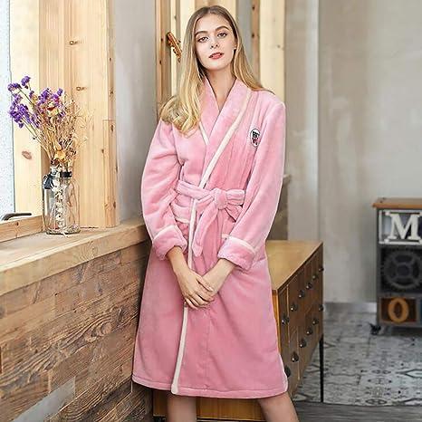 Espesar Calentar Bata De Baño Mujer Invierno Otoño Casual Algodón Bata De Kimono Cómodo Homewear,