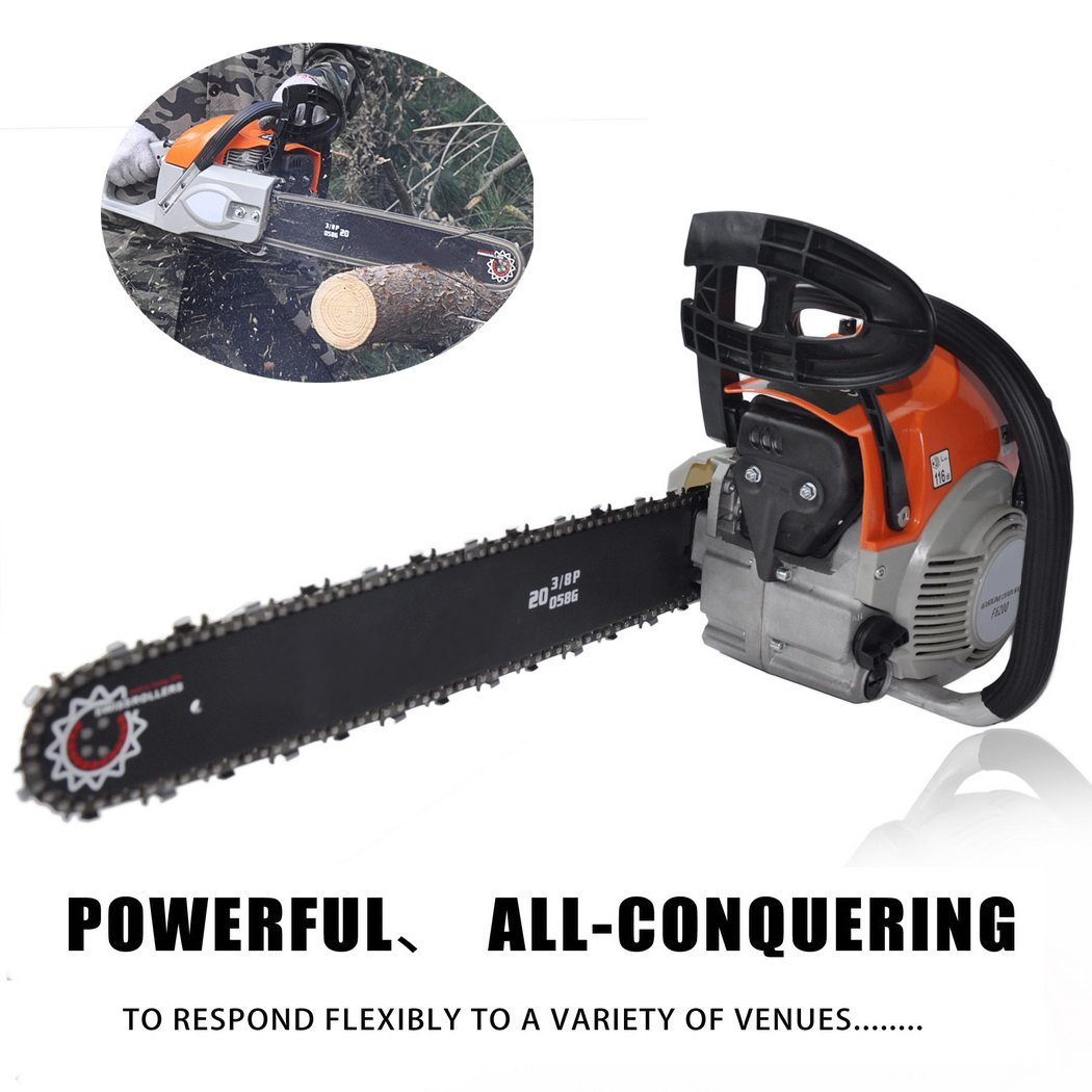 62cc 20'' Gas Powered Chainsaw 2 Strokes 4.2HP Hand Held Gas Chainsaws for Farm, Garden and Ranch Red (US Stock) (62cc - 4.2HP)