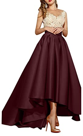 538f7cbb8e1 Homdor V Neck High Low Prom Dresses Long Satin Evening Formal Gowns for  Women at Amazon Women s Clothing store