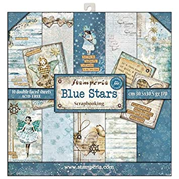 10 Designs//1 Each Stamperia Double-Sided Paper Pad 12X12 10//Pkg-Blues