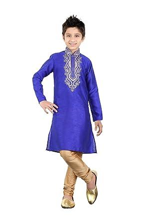 b32bac9081 Amazon.com: daindiashop-USA Baby/Boy Readymade Kurta Pajama Indian Designer  Partywear Dress For Kid In Royal Blue Art Silk: Clothing