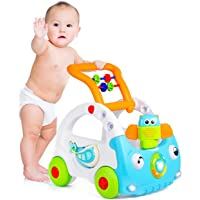 Kiddale 3-in-1 Multifunctional Walker with Remote Control, Hand Propelled Walker with Music and Light, 3-Point Safety Support, Fruits and Shape sorter and Adjustable Height