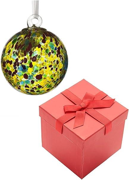 Bola de la amistad, color amarillo, azul y rojo colores de cristal con cinta de organza y rojo caja de regalo: Amazon.es: Hogar