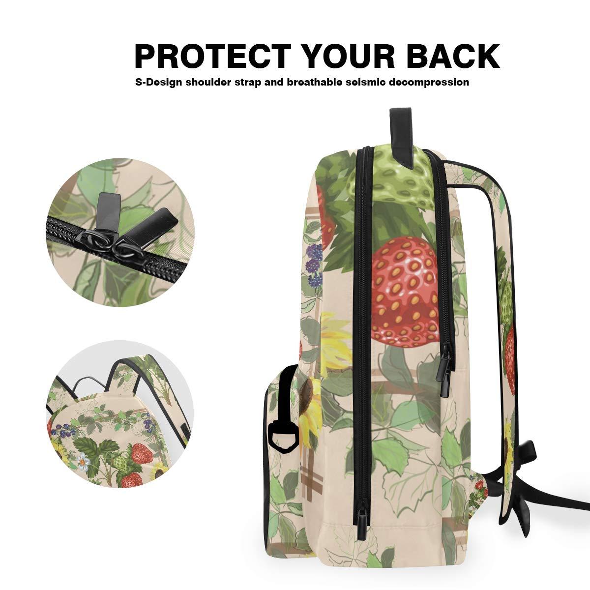 Fruit Pink Strawberry Shoulder Backpack Messenger Crossbody Laptop Bag Student Bookbags for Kid Girls Boys