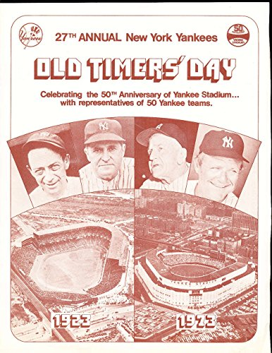 1973 8/11 New York Yankees 27th annual old timers day program ex bxyba -
