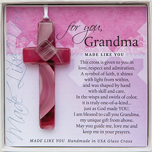 Gift for Grandma: Handmade Glass Cross and Grandma Poem