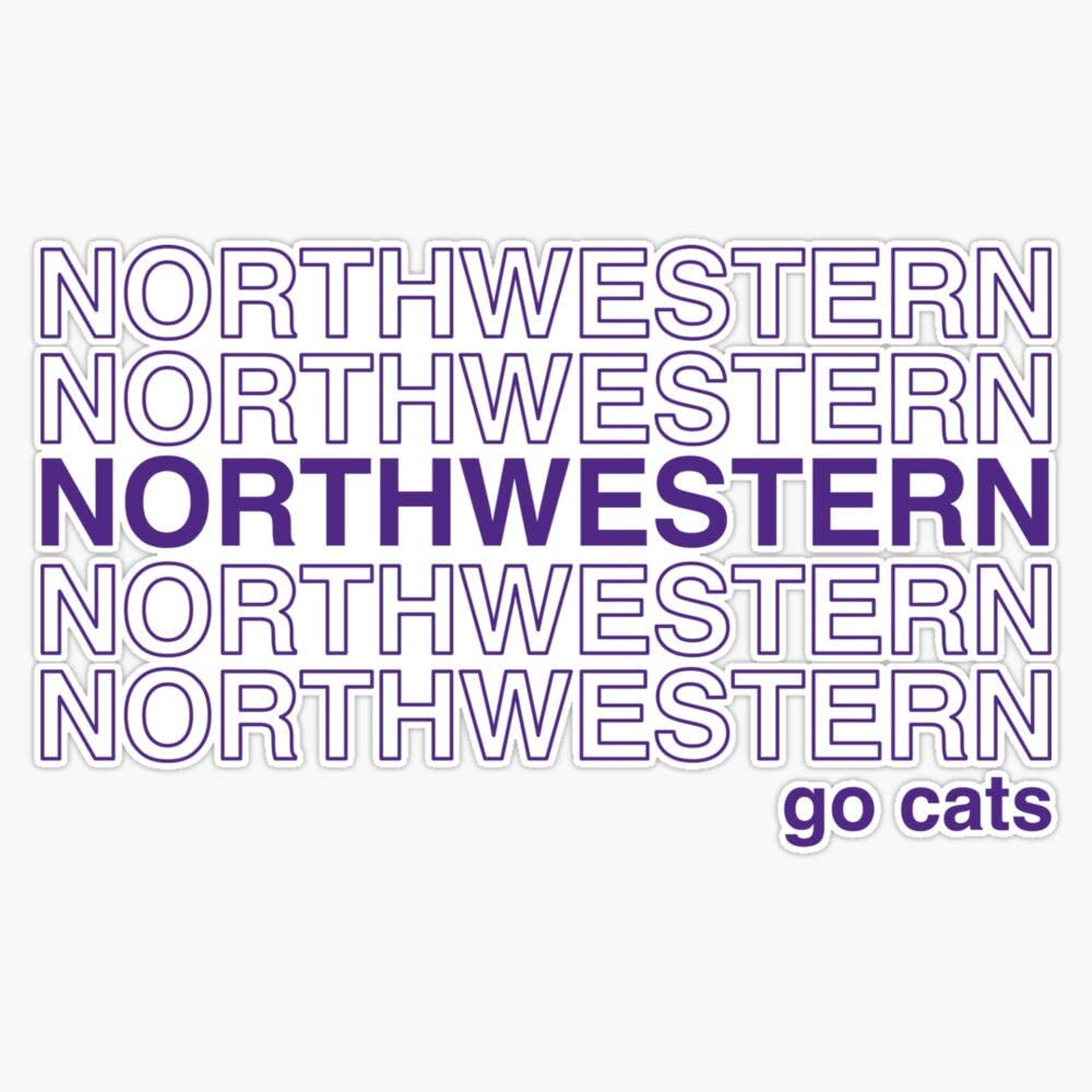 """Leyland Designs Northwestern Thank You Sticker Outdoor Rated Vinyl Sticker Decal for Windows, Bumpers, Laptops or Crafts 5"""""""