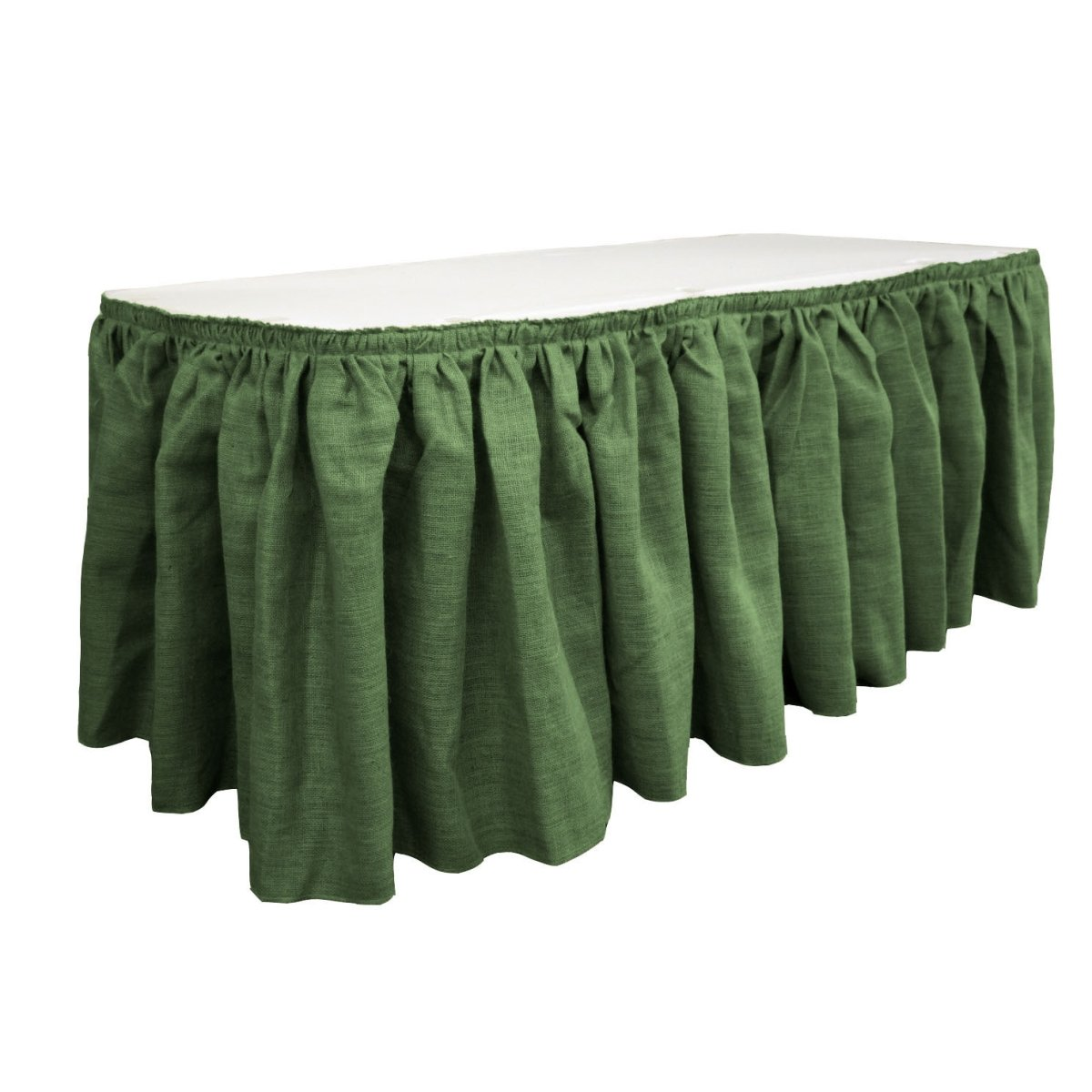 LA Linen SkirtBurlap17x29-10Lclips-GreenHunter Burlap Table Skirt with 10 L-Clips44; Hunter Green - 17 ft. x 29 in. by LA Linen (Image #1)