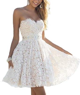 Ärmellos Bandeau Knielang Mädchen Elegant Yogly Sommerkleid Linie Tief Minikleid Weiße Kleider Damen V Rückenfrei A Lace Spitze Ausschnitt fYym6gI7bv