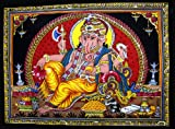Cotton Canvas Lord Ganesh / Ganesha / Ganpati Yoga 22'' X 16'' Tapestry (Small)
