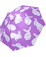 InterestPrint Fashion Cute Bunny White Rabbit Purple Foldable Travel Rain Umbrella