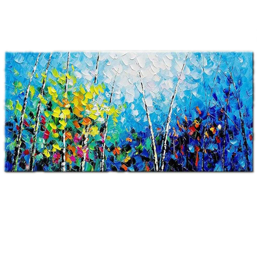 OME& MEI Dipinto A Mano su Tela Pittura A Olio AstrattaForestaBluPaesaggio Galleria Soggiorno Camera da Letto Home Decor Art 40X80Cm Meiqiul