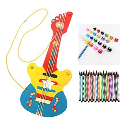 Amazoncom Zimo Diy Painted Handwork Wooden Guitar Musical Toy