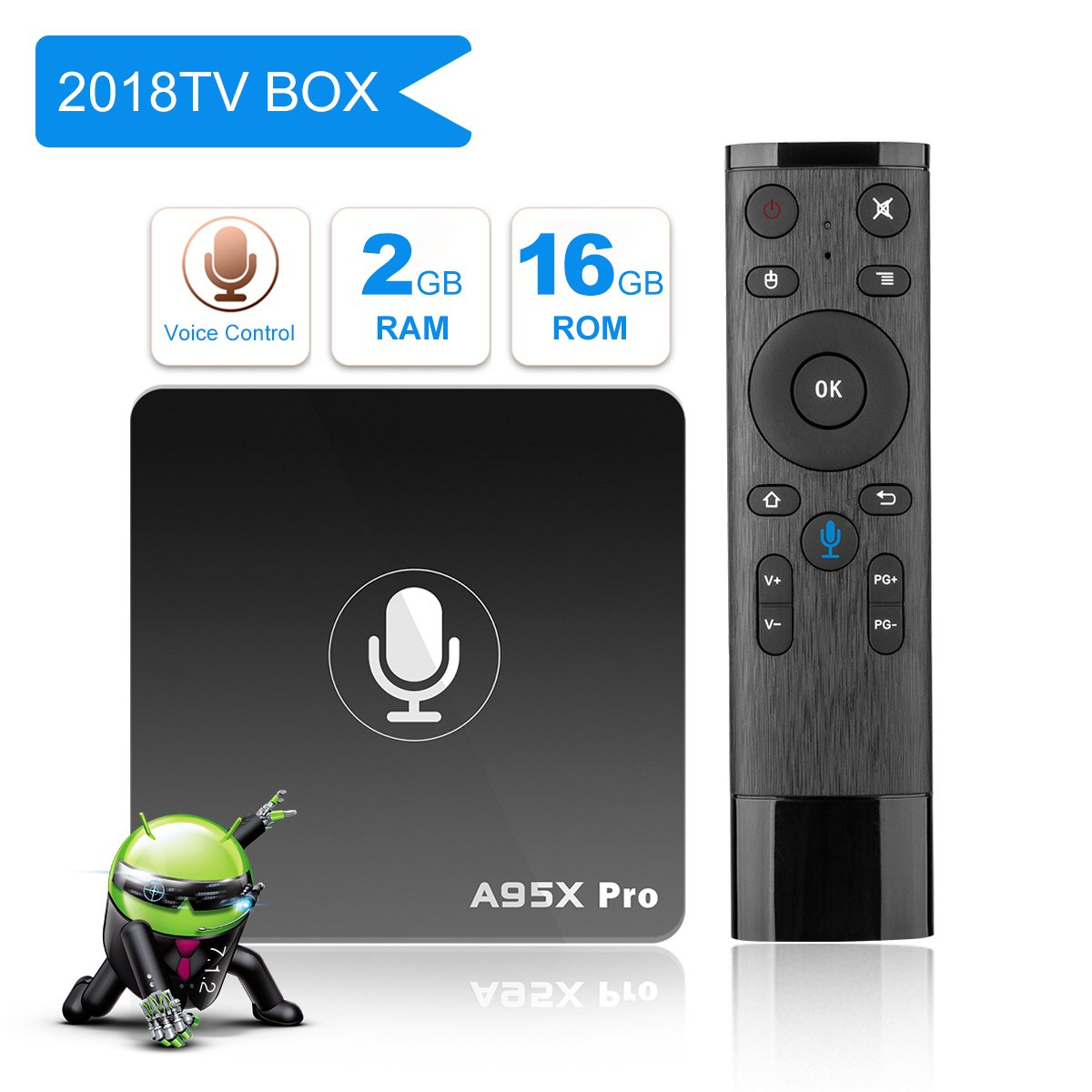 A95X Pro Voice Remote Android TV BOX, Android 7.1 2GB DDR3 16GB eMMC Wifi HDMI Ethernet HD Player by YAGALA