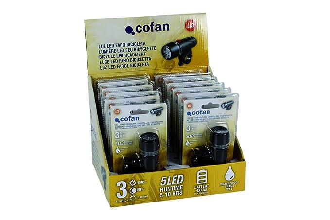 Cofan Expositor 12 Unidades Linterna Faro Bicicleta E27, Multicolor
