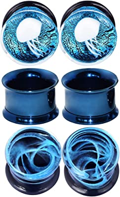 BodyJewelryOnline 3 Pairs of Thin Silicone 2G-1//2 inch Glow in The Dark Flexible Ear Skin Tunnels Red//White//Black