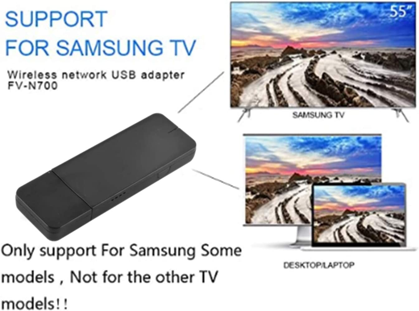 Dicrey USB Wireless WiFi Adapter Samsung TV Wireless WiFi Network Card Adapter 300Mbps Dual Band 2.4G/5G Wireless 802.11 USB2.0 Wi-Fi LAN Adapter for Samsung Smart TV Laptop Desktop 1pcs