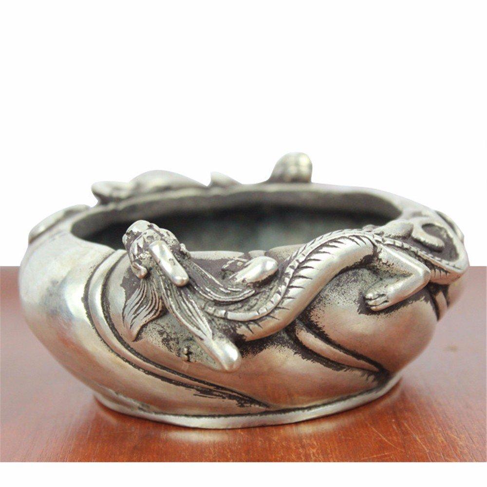パーソナリティ簡単な真鍮灰皿ドラゴングレー灰皿シルバーメッキ灰皿装飾   B074KDHTTF