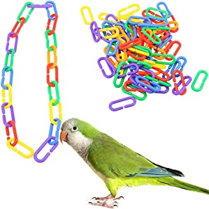 SOBAKEN Tcplyn Premium Quality 100Pcs Plastic Parrot Toys C-Clips Hooks Chain C-Links Sugar Glider Rat Parrot Bird Toy Bird Accessories