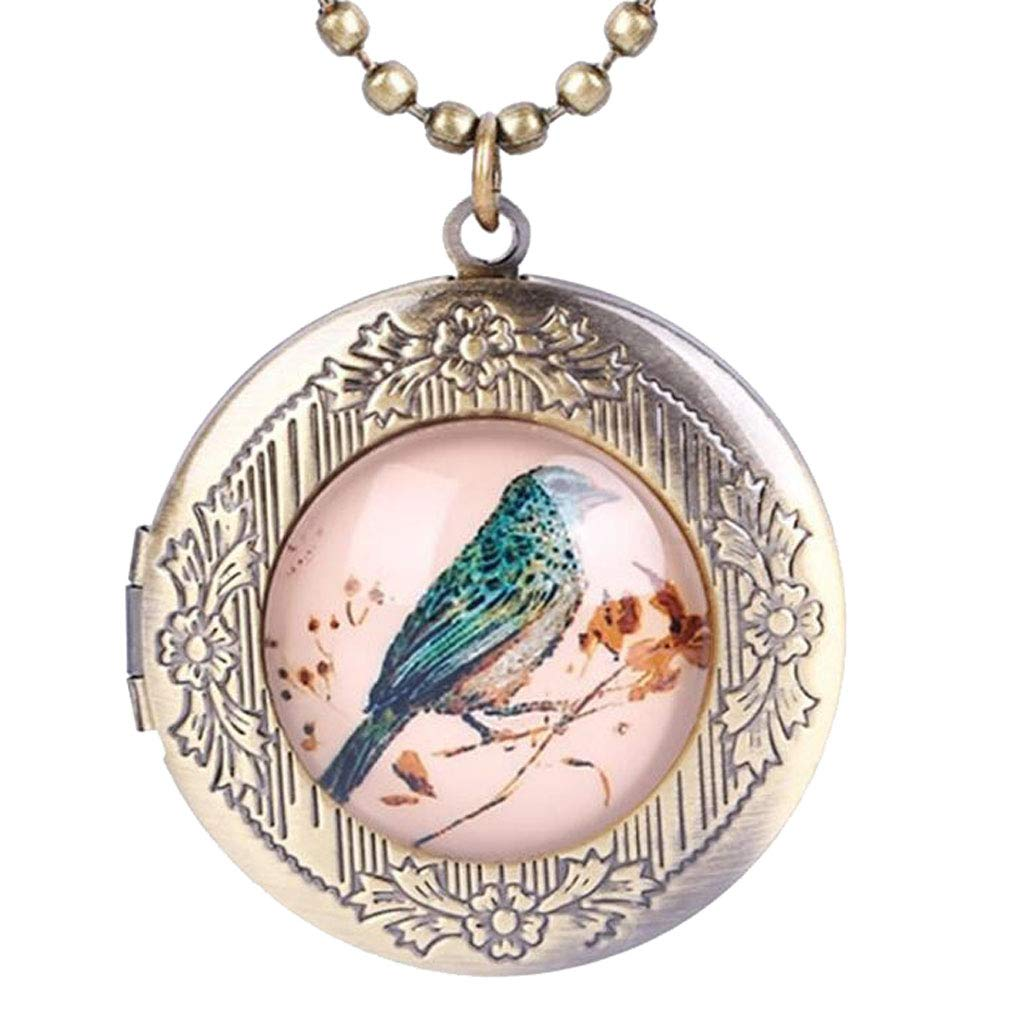 CliPons Vintage Magpie Birld Round Pendant Locket Necklace That Holds Pictures Kids Girls Women