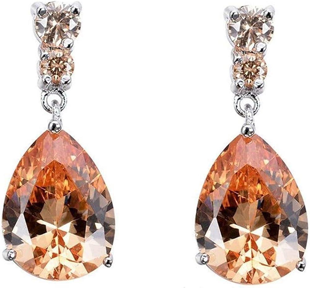 newshijieCOb Fashion Women Earrings Cubic Zirconia Inlaid Teardrop Dangle Stud Earrings Exquisite Jewelry for Women Girls Champagne