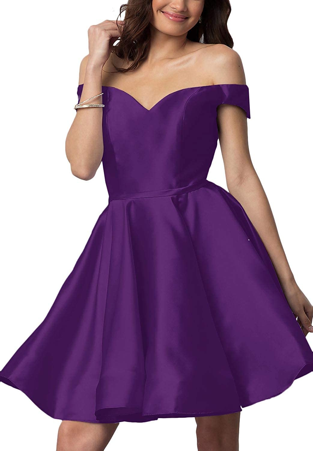 Dark Purple YnanLi Dress Short Off Shoulder Homecoming Dresses for Junior Cocktail Ball Gown with Pocket