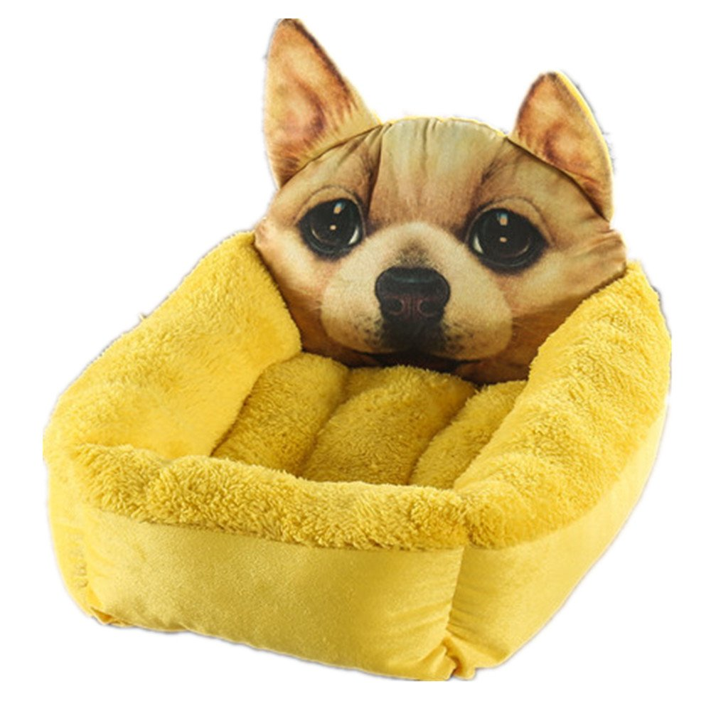 LXLP Orthopedic Circle Stitch Cuddler Cute animal pattern Pet Bed (Small 15.7×19.7in, Yellow)
