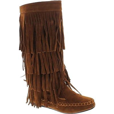 V-Luxury Womens Closed Toe Mid Calf Knee High Mocassin Flat Boot | Mid-Calf