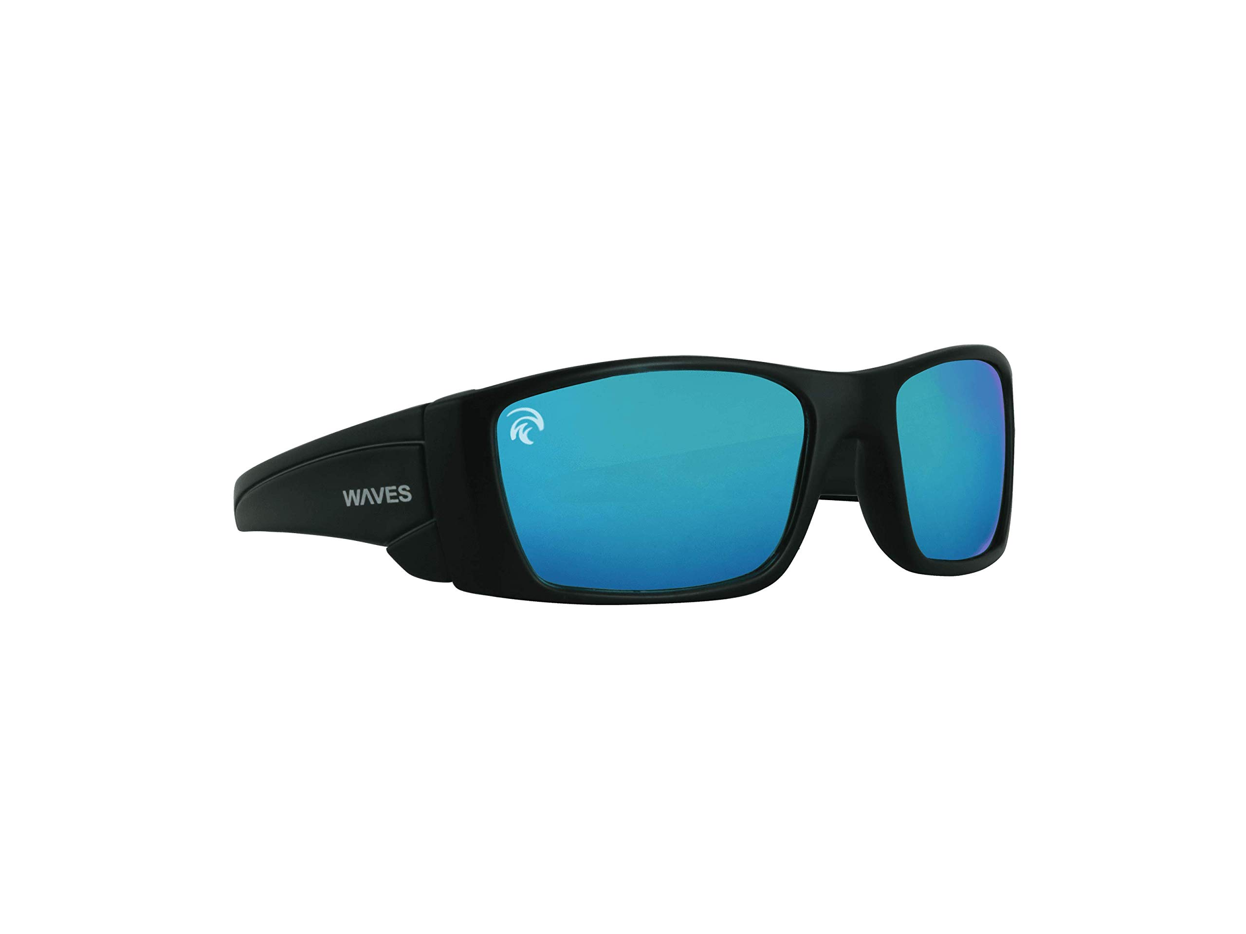 Waves Gear Floating Polarized Sunglasses | Unsinkable Sunglasses for Fishing, Boating, Water Sports.Paddle Boarding (Black/Blue) by Waves Gear
