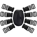 Coopay 3.8cm Plastic Buckles Kit Include 8 Pack Side Release Plastic Buckles,8 Pack Tri-Glide Slides with 5 Yards Black Nylon Webbing Strap