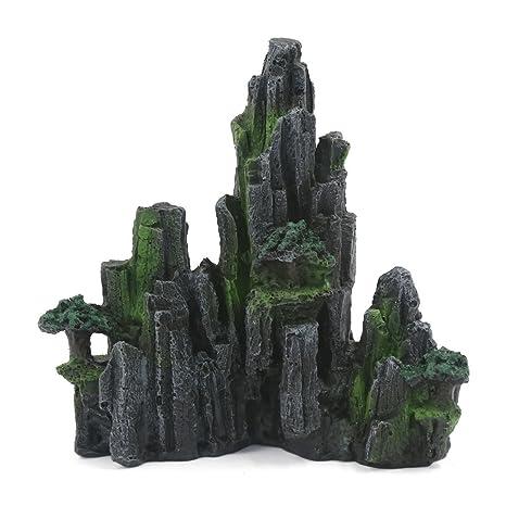 Montaña artificial para decoración paisaje de acuario verde negro de cristal