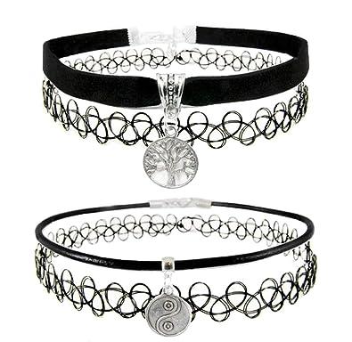 boho chic black stretchy tattoo choker necklece Tibetan silver sun charm
