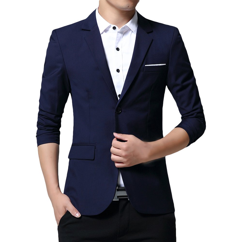 WEEN CHARM Mens Slim Fit Casual Two Button Blazer Jacket Suit Coat