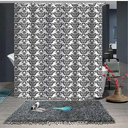 (AngelDOU Damask Printed Fabric Shower Curtain Monochrome Damask Leaves Repeating Curls with Little Dots Rococo Revival Influen Home Decorations for Bathroom)