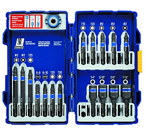 IRWIN Tools IMPACT Performance Series Fastener Power Bits, 17-Piece Set with Pro Case and Magnetic Screw-Hold Attachment (1903768) by Irwin Tools