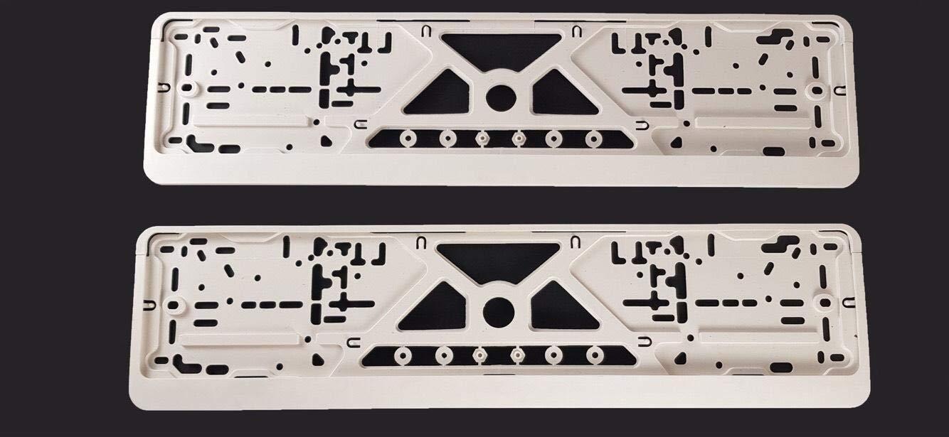 Soporte de la placa del coche Blanco 2 piezas tama/ño est/ándar de la UE 52 cm Soporte de la placa del coche cl/ásico Soporte de la placa del veh/ículo Placa de la matr/ícula