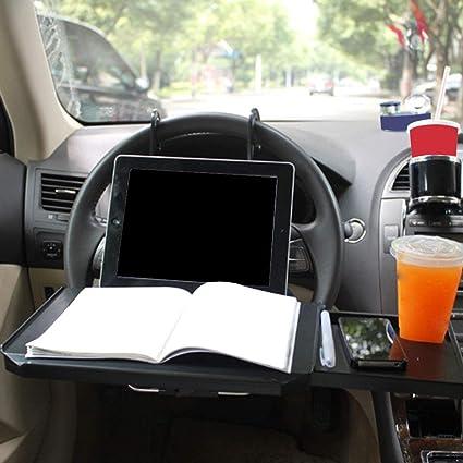 Asdomo Multifunktionaler Lenkradtisch Zusammenklappbar Für Auto Computer Laptop Tablet Schreibtisch Auto Rücksitz Tragbar Tablett Tisch Auto Essen Essen Getränke Becherhalter Schwarz Auto