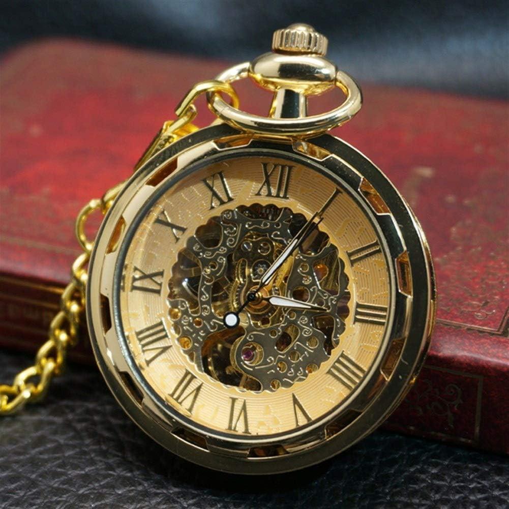 ZHJBD JIAN Pocket Watch, Steampunk Ruedas Personalizadas Reloj De Bolsillo Retro Huecos Hombres Reloj Mecánico Y Reloj De Las Mujeres Libres De Los Estudiantes GAI Luoma Mesa Colgantes. (Color : 8)