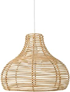 Kouboo Palau Continuous Weave Wicker Dome Lamp, Large, Natural