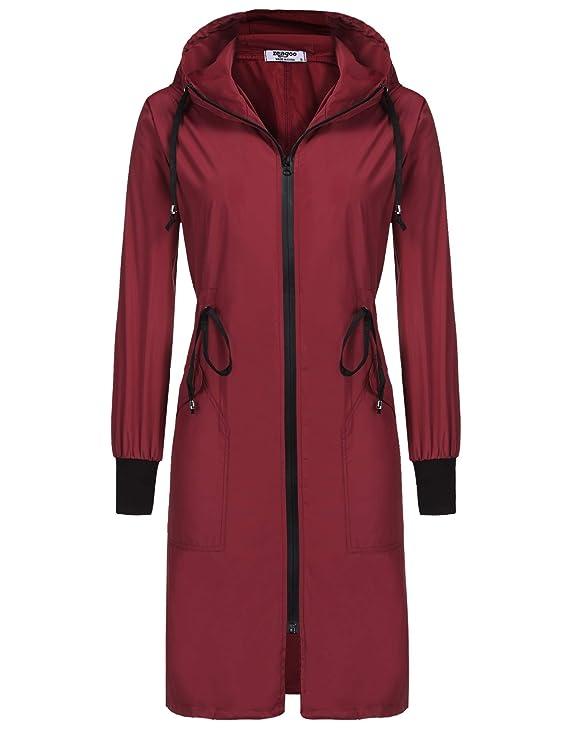 ELESOL Packable Rain Jacket Women Waterproof Hood Raincoat Loose Windbreaker