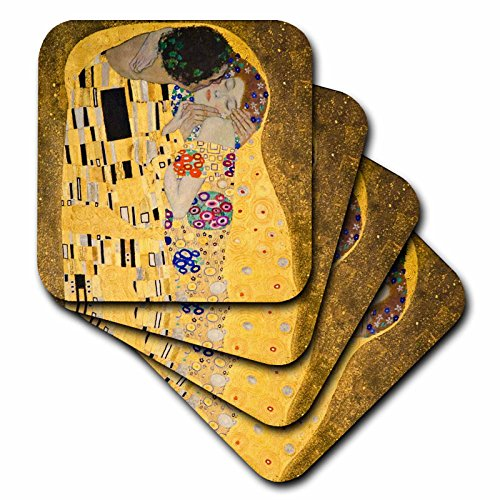 Fine Art Ceramic Tile (3dRose cst_155634_3 The Kiss C 1907 by Gustav Klimt-Romantic Lovers Embrace-Gold Famous Classical Fine Art-Ceramic Tile Coasters, Set of 4)