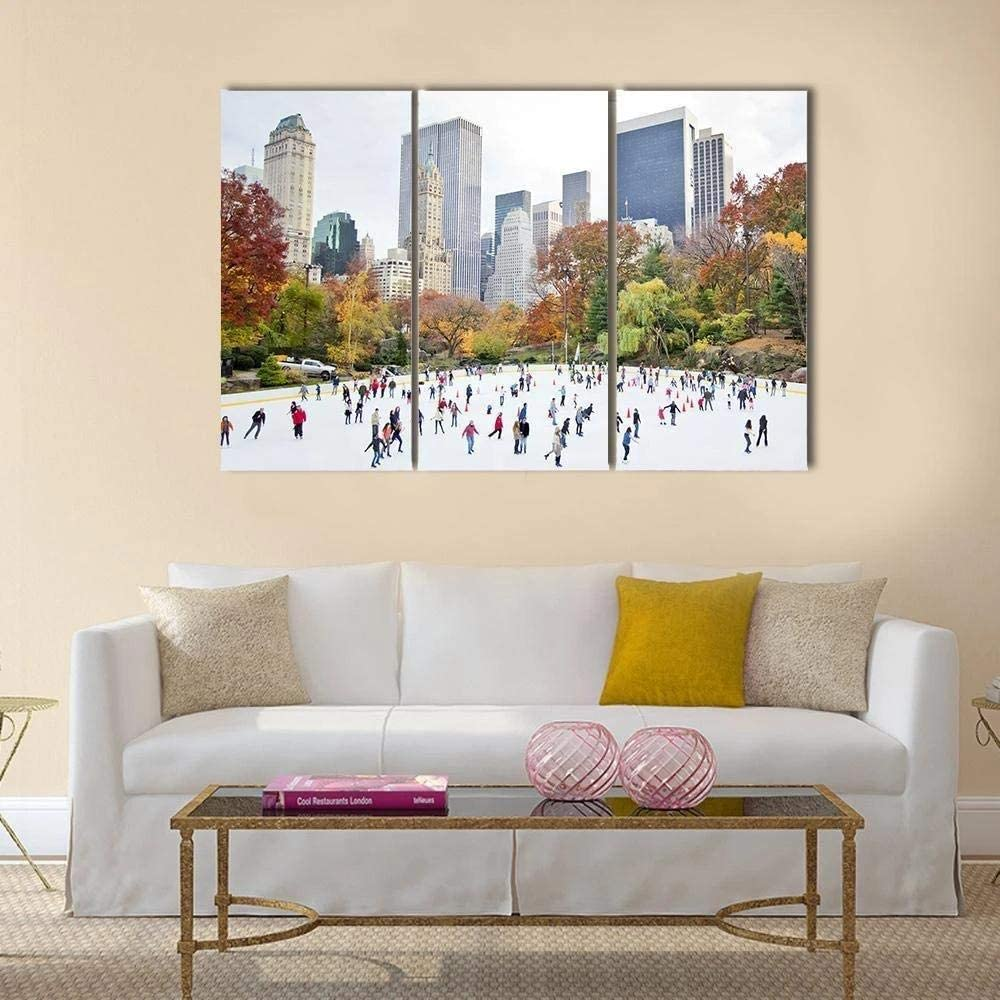 IOIP Wall Art 3 Pieces Framed Art Wall Decor ice Skaters havg Fun for Home Decor Living Room Bedroom Office Stretched and Framed Ready to Hang