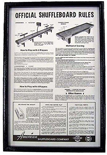 Black Framed Shuffleboard Rules - Framed Equipment